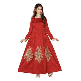 Adorable Red Taffeta Silk Embroidery Work With Long Gown