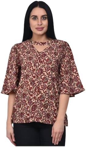 ADORSY Georgette Floral Brown V Neck  Top For Women