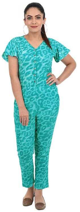 ADORSY Printed Jumpsuit - Blue