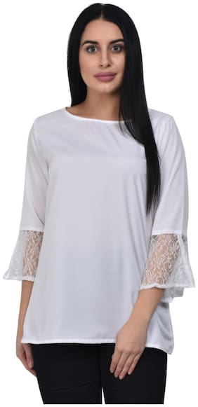 ADORSY Women Solid A-line top - White