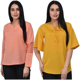 ADORSY Women Printed A-line top - Yellow & Peach