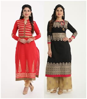 Adorsy Womens Embroidered Cotton Straight Kurti (Red;Black)