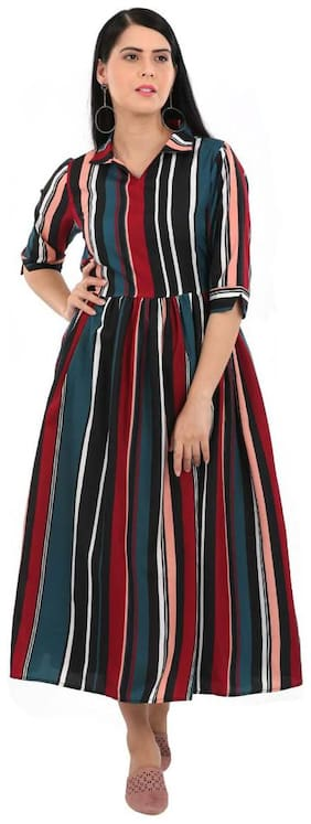 ADORSY Crepe Striped A-line dress Multi