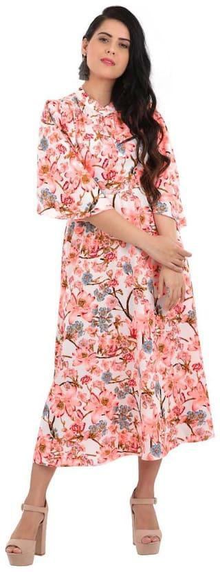 ADORSY Crepe Floral A-line dress Multi