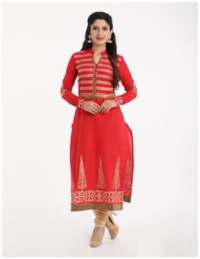 Adorsy Womens Embroidered Cotton Straight Kurti (Red)