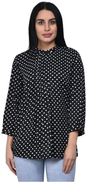 ADORSY Women Polka dots A-line top - Black