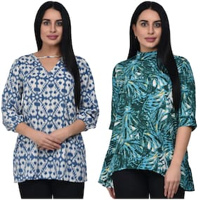 ADORSY Women Printed A-line top - Multi