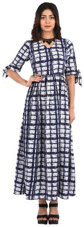 ADORSY White Checked A-line dress