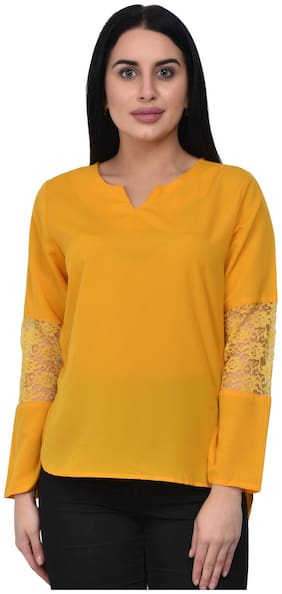 ADORSY Women Solid Regular top - Yellow
