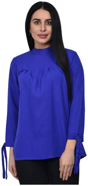 ADORSY Women Solid Regular top - Blue