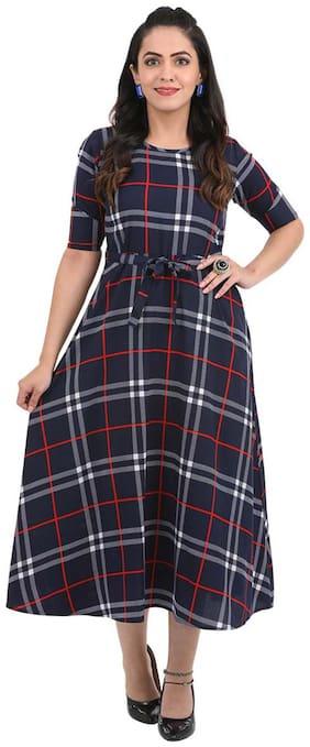 ADORSY Blue Checked A-line dress