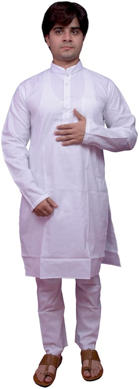 Adr Chikan  White Pure Cotton Hand Loop Mens Kurta Pyjama Set