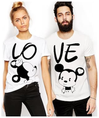 ADYK Cotton Half Sleeves Printed White Color Couple T-Shirt