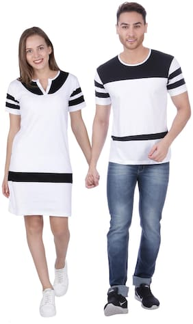 ADYK Cotton Striped White & Black Color T-Shirt Dress and T-Shirt Combo For Couple
