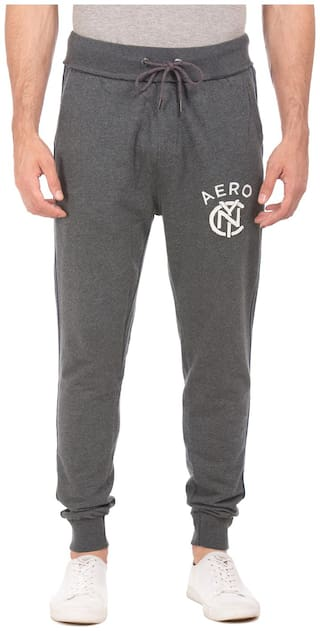 Aeropostale Grey Cotton Slim Fit Heathered Joggers