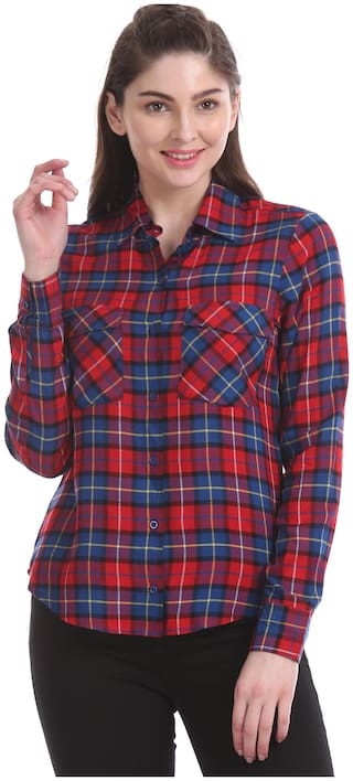Aeropostale Women Red Checked Regular Fit Shirt