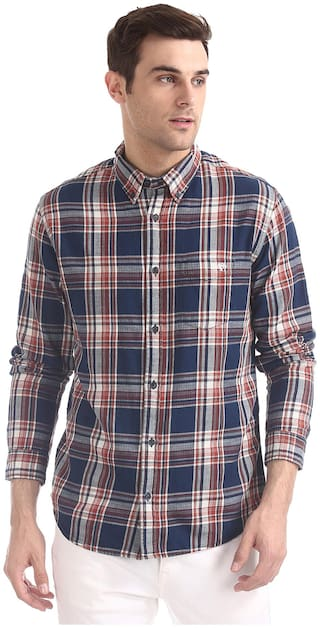 A ropostale Men Multi Checked Regular Fit Casual Shirt