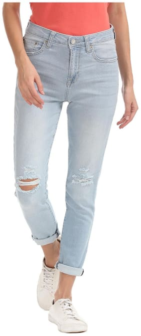 Aeropostale Women Regular Fit High Rise Solid Jeans - Blue