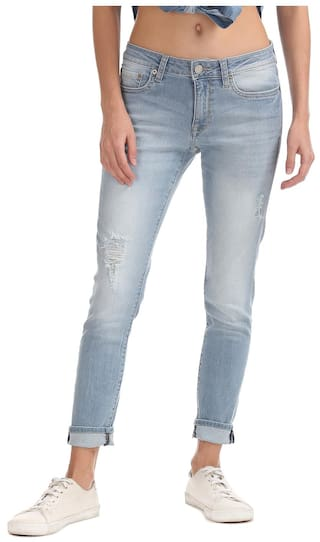 Aeropostale Blue Cotton Low Rise Distressed Jeans
