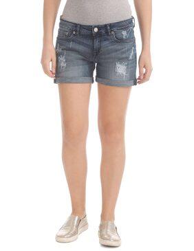 Aeropostale Blue Cotton Rip And Repair Denim Shorts