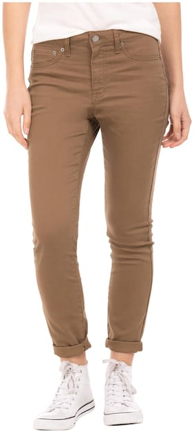 Aeropostale Women Skinny Fit High Rise Solid Jegging - Brown