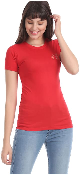 Aeropostale Women Red Regular fit Round neck Cotton T shirt