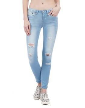 Aeropostale Women Slim Fit Low Rise Ripped Jeans - Blue