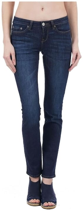 Aeropostale Women Slim Fit Mid Rise Solid Jeans - Blue