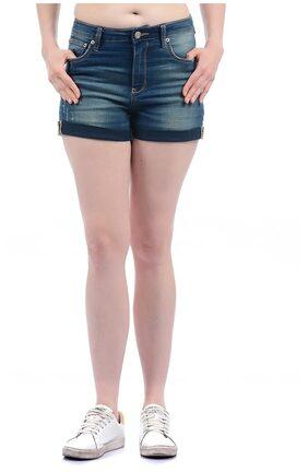 Aeropostale Women Solid Shorts - Blue