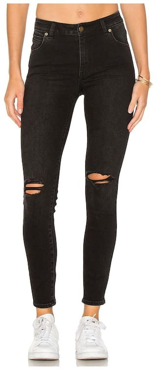 AFW Women's Black Strechable Distressed Denim Jean