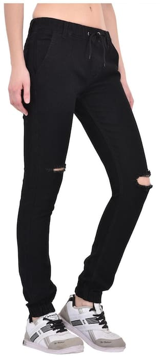 AFW Women's Black Strechable Distressed Denim Jogger