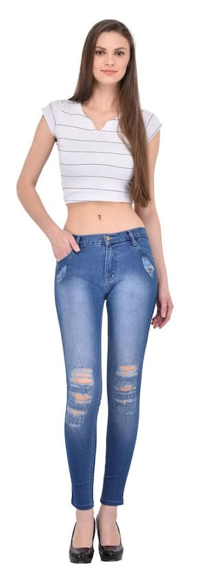Jeans Blue AFW Denim Strechable Distressed Women's U71wXqH