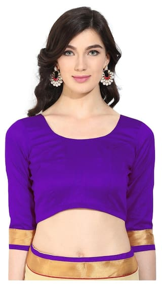 a77a7cd289d81 Agaman Fashion Classy Violet Art Silk Readymade Blouse With Backstring and  Latkan 091B