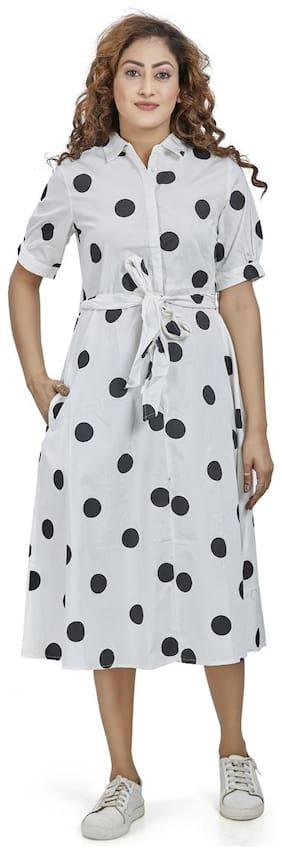 Agozzy White Polka dots Shirt dress