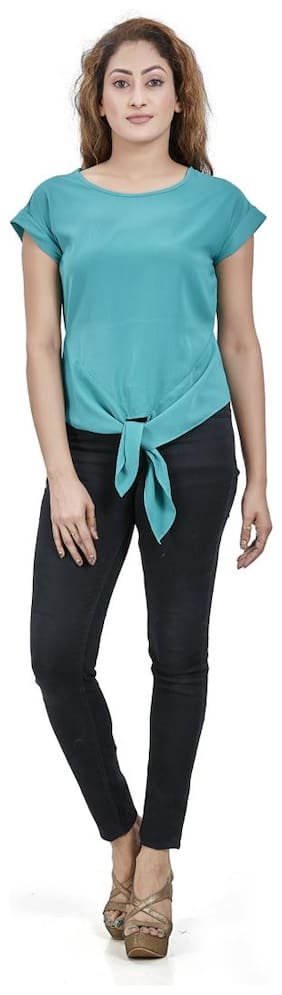 Agozzy Polyester Solid Turquoise Regular Top Women