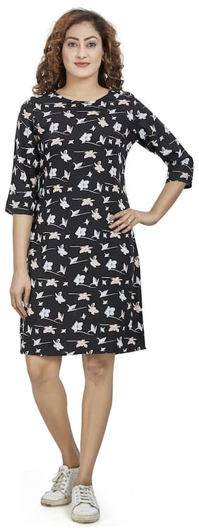 Agozzy Viscose Rayon Black Floral A Line Dress  For Women