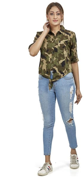 Agozzy Viscose Rayon Camouflage Olive Regular Top Women