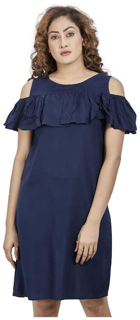 Agozzy Viscose Rayon Navy Blue Solid A Line Dress  For Women