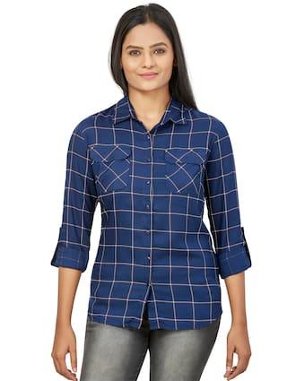 Agozzy Women Navy Blue Checked Regular Fit Shirt
