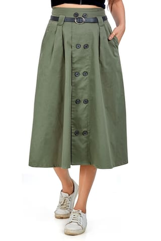 Agozzy Women Olive Cotton Solid A-line Skirt