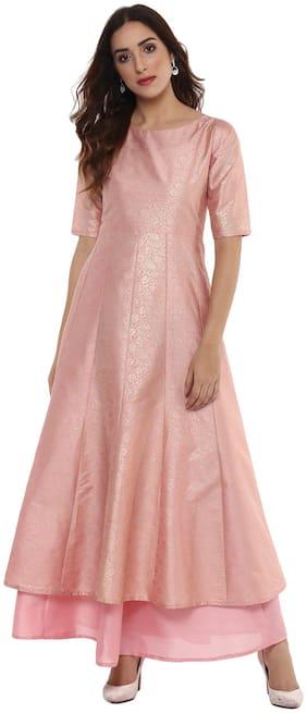 Ahalyaa Women Blended Solid A line Kurta - Pink