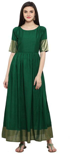 Ahalyaa Green And Gold Floor Length Kurta Dress