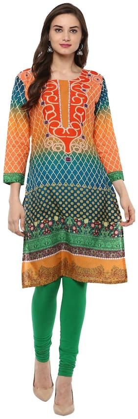 Ahalyaa Women Cotton Printed Straight Kurta - Multi