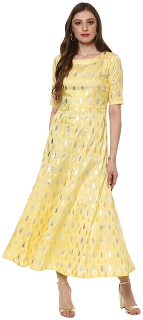 Ahalyaa Partywear Yellow Fax Silk Long Anarkali