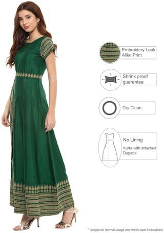 Ahalyaa Women Green Printed Anarkali Kurta