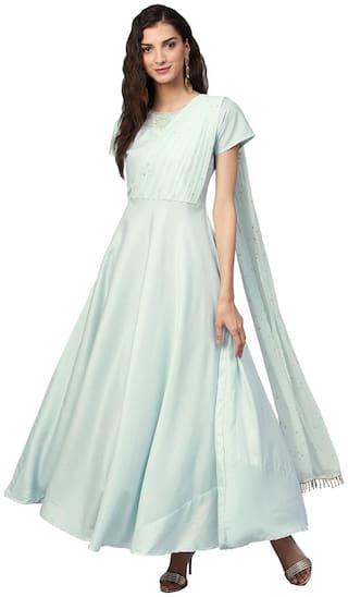 Ahalyaa Women Polyester Blue Kurta