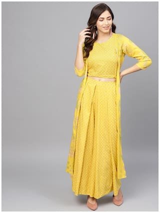 Ahalyaa Yellow Printed Crop Top with Shrug for Women