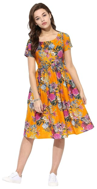 Summer Yellow Ahalyaa Pull Over Floral Cotton Frilled Flared Dress Flare rrYdfSx