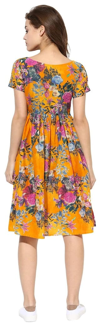 Yellow Cotton Flared Ahalyaa Flare Dress Pull Over Frilled Floral Summer aqndwgP