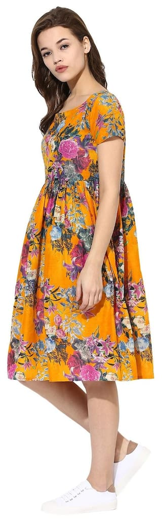 Summer Floral Frilled Flared Yellow Pull Dress Cotton Flare Ahalyaa Over HTYnqZqW